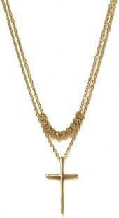 Gold Bead & Cross Layered Pendant Necklace