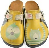 Yellow Owl & Bear Slip-On Mule