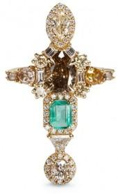 Xiao Wang 'Galaxy' diamond and emerald 18k gold ring