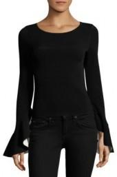 MILLY Contrast Draped Bell Sleeve Pullover