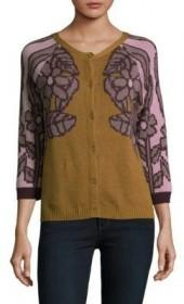 Floral Knit Buttoned Sweater