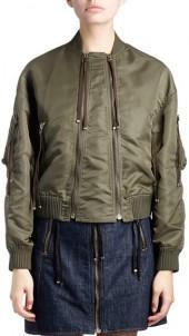 KENZO Satin Double-Zip Bomber Jacket, Green