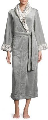 Natori Long Robe with Animal-Print Trim, Snow Lynx