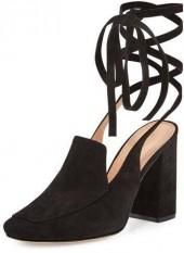 Sigerson Morrison Posie Suede Ankle-Wrap Loafer Pump, Black