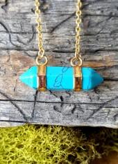 Etsy Turquoise Double Terminated Necklace - stone jewelry - 348