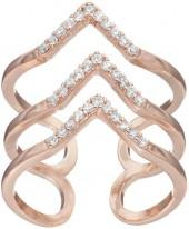 LC Lauren Conrad 3-Row Chevron Open Ring