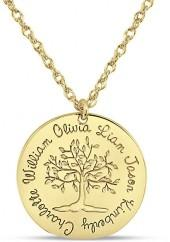 Mother's Engravable Tree of Life Disc Pendant in 14K Gold (1-6 Names)
