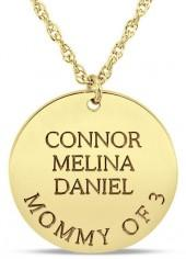 Mother's Engravable Disc Pendant in 14K Gold (1-3 Names and 1 Line)