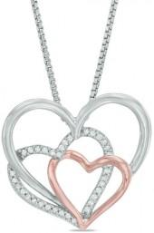1/10 CT. T.W. Diamond Triple Heart Pendant in Sterling Silver and 14K Rose Gold