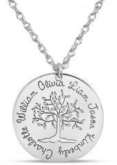 Mother's Engravable Tree of Life Disc Pendant in 14K White Gold (1-6 Names)