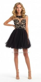 Camille La Vie Illusion Flocked Fit And Flare Homecoming Dress