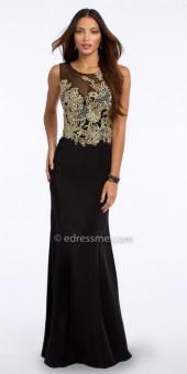 Camille La Vie Metallic Embroidered Illusion Motif Evening Dress