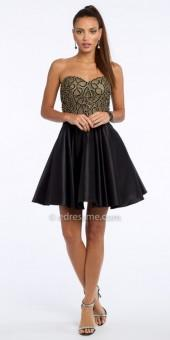 Camille La Vie Swirl Bead Satin Fit And Flare Cocktail Dress