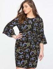 Printed Flare Sleeve Dress