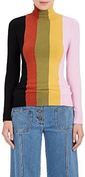 Joos Tricot Women's Striped Cotton-Blend Turtleneck Sweater