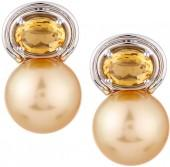 Belpearl 18k Golden South Sea Pearl & Citrine Drop Earrings, 11-12mm