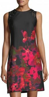 Donna Ricco Lace-Panel Floral-Print Dress