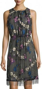 T Tahari Talia Floral-Embroidered Dress