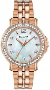 Bulova Women's Rose Gold-Tone Stainless Steel Bracelet Watch 30mm