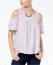 Ultra Flirt Juniors' Cotton Cold-Shoulder Top