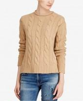 Polo Ralph Lauren Cable Wool Cashmere Blend Roll-Neck Cotton Sweater