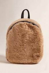 FOREVER 21 Faux Fur Mini Zip Backpack