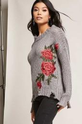 FOREVER 21 Frayed Rose Applique Sweater