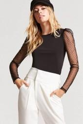 FOREVER 21 Swiss Dot Puff Sleeve Top