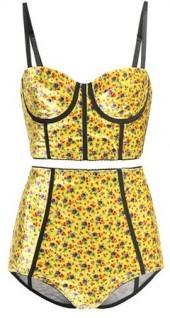 Alessandra Rich Floral-printed velvet lingerie set