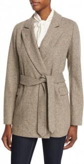Co Wrap-Front Herringbone Wool Jacket, Brown