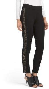 Petite Poppy Leggings With Lace Tuxedo Trim