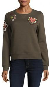 Jersey Embellished Patch Sweatshirt