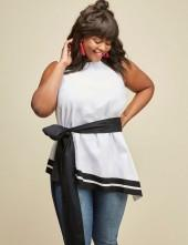 Belted Asymmetrical Peplum Top by GLAMOUR X LANE BRYANT
