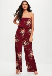Burgundy Floral Wide Leg Romper