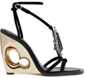 Alexander McQueen - Embellished Suede Wedge Sandals - Black
