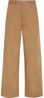 Bassike - Cropped Cotton-blend Wide-leg Pants - Camel