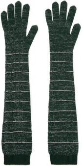 Prada - Striped Metallic Wool-blend Gloves - Green