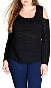 Plus Size Women's City Chic Cold Shoulder Top