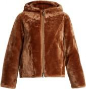 VINCE Zip-through hooded shearling jacket
