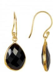 Forever Creations USA Inc. 18K Gold Plated Sterling Silver Briolette Black Onyx Earrings