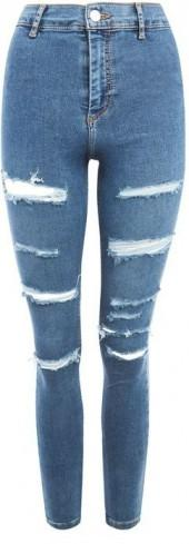 Topshop Moto mid blue super ripped jeans