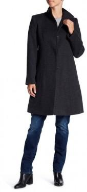 Fleurette Funnel Neck Wool Coat