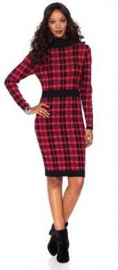 Wendy Williams Plaid Turtleneck Sweater Dress