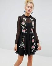 ASOS PREMIUM Pretty Embroidered Mini Skater Dress on Dobby