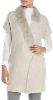 fabiana filippi Short Sleeve Cardigan with Real Fur