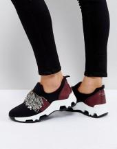 SixtySeven Black Embellished Sneakers