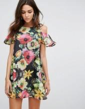 AX Paris Ax Paris Cold Shoulder Floral Chiffon Swing Dress