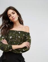 AX Paris Bardot Top With Floral Print
