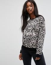 Noisy May Leopard Print Sweatshirt