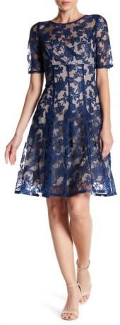 Adrianna Papell Lace Fit and Flare Dress